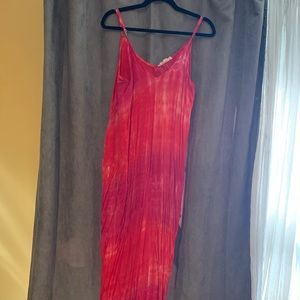 Love stitch red & pink tie dye maxi